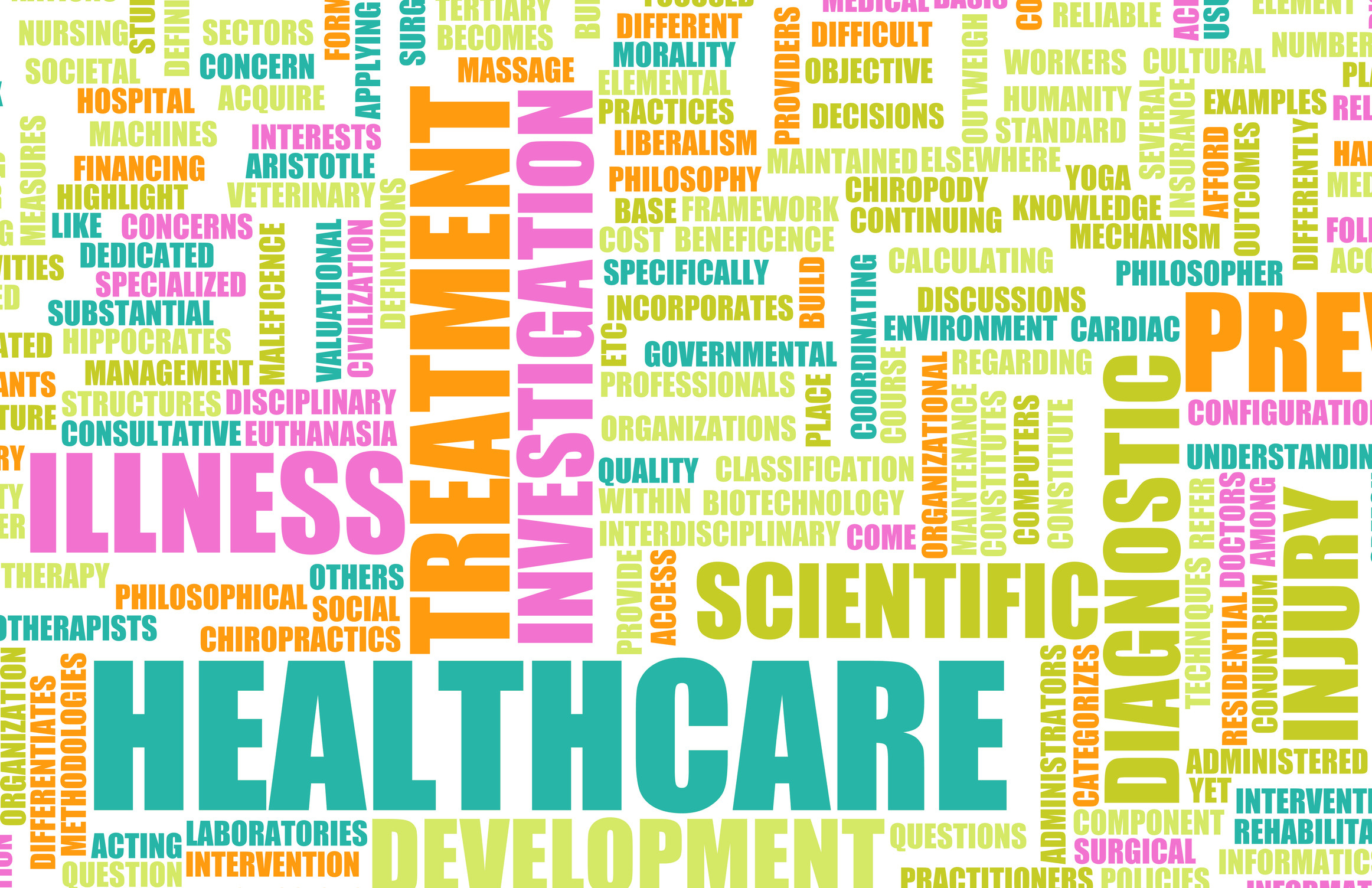 Word cloud featuring words related to healthcare