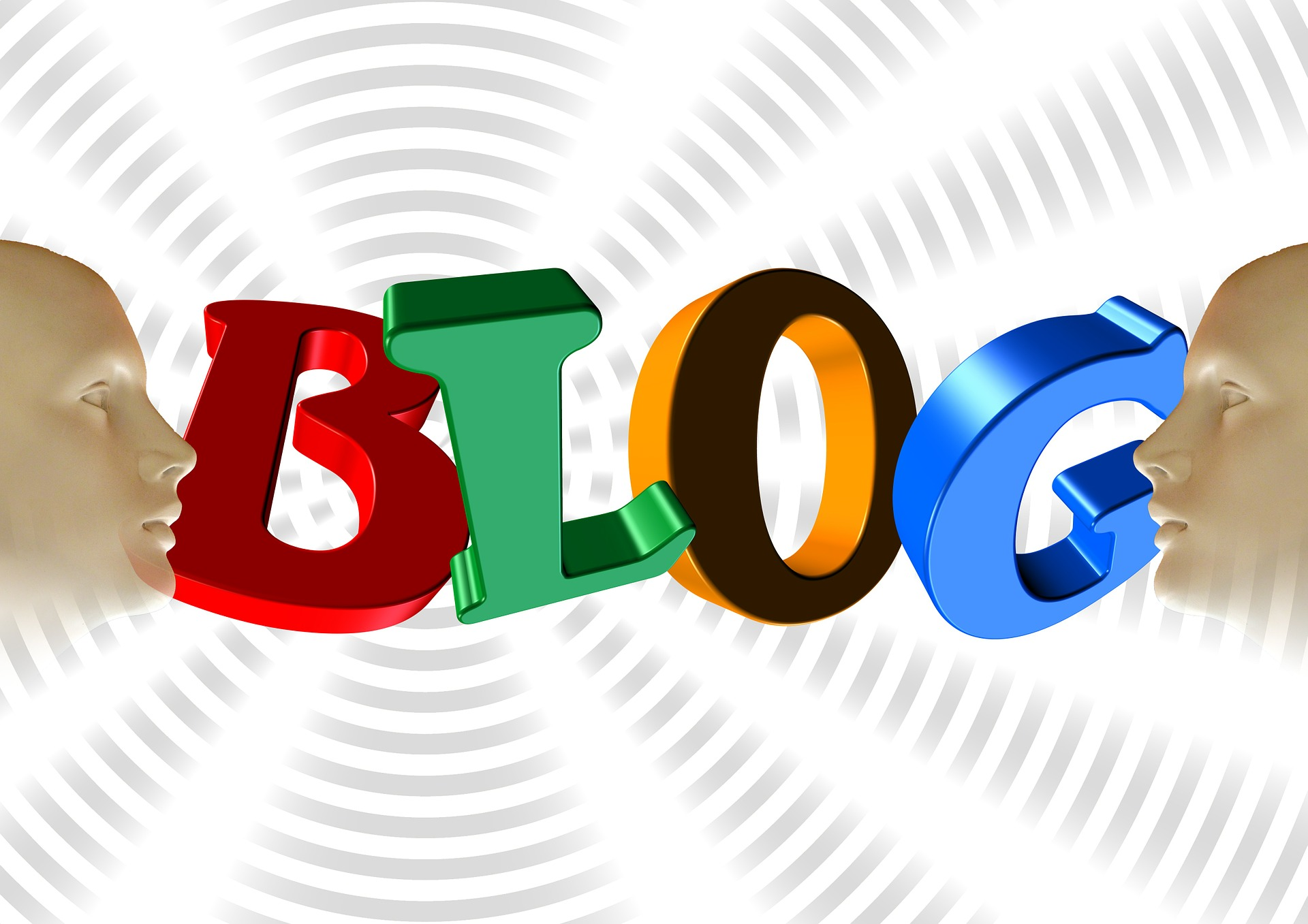 Graphic of the word blog in bold, bright letters