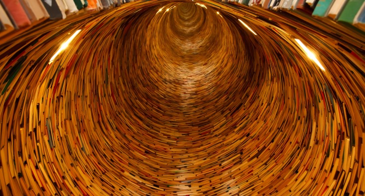 Tunnel of books and library materials