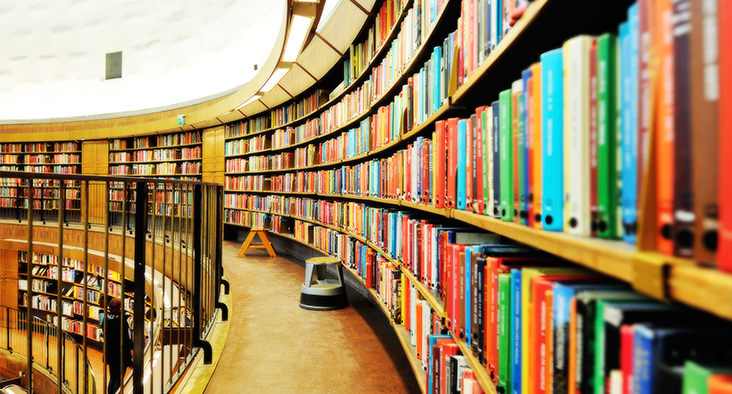 Image of curving library shelves