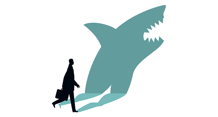 Drawing of business man with a shadow the shape of a shark