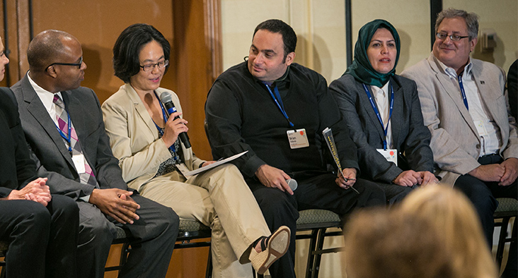 Dr. Fiona Sussan, Research Chair, speaks during a panel discussion