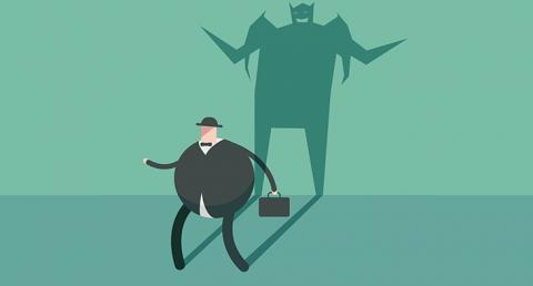 Graphic of man with menacing shadow