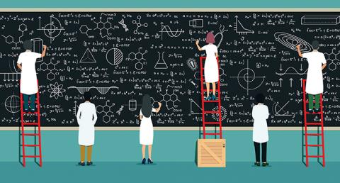 Graphic of scientists writing together on a large blackboard