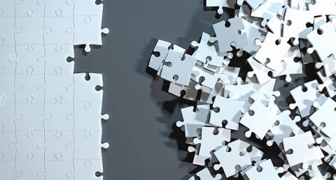 Missing puzzle piece and a pile of pieces