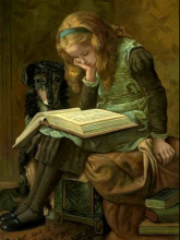 """Reading"" by James Charles: Oil on board undated (1880-1890 est.)"