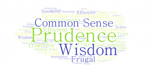 Collage of words related to the meaning of word Prudence