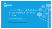 Cover slide from How to Write and Publish an Article presentation