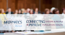 Public Health Informatics conference banner overlaid on generic conference audience.